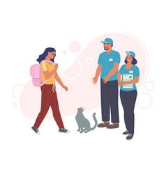 woman adopting cat from pet shelter volunteers vector image