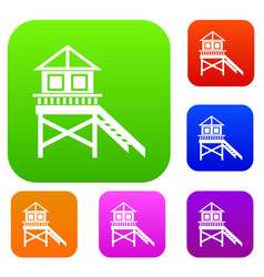 wooden stilt house set collection vector image