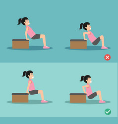 Wrong and right tricep dip posture vector