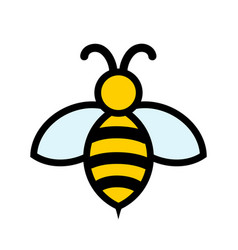 yellow and black bee icon logo design stock vector image