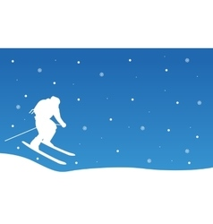 Christmas landscape people ski collection vector image