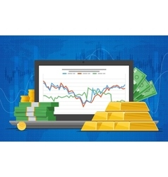 Gold price in flat style vector image