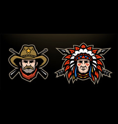 Head of cowboy and indian on a dark background vector
