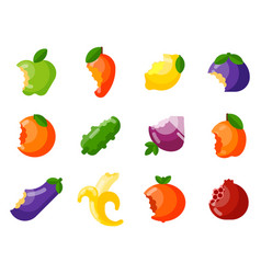 bitten fruits vitamin food and vegetable vector image