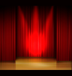 empty stage with red curtain and spotlight on wood vector image