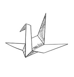 Origami crane paper bird sketch icon vector image
