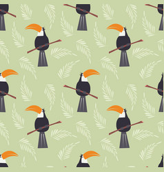 seamless pattern with cute jungle parrot toucan vector image