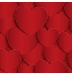 Seamless pattern with red paper hearts vector image