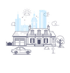 traditional and modern house vector image vector image