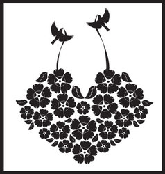 birds with a heart of flowers vector image vector image