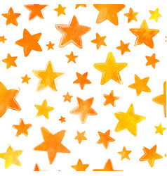 orange watercolor painted stars on white vector image vector image