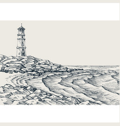 sea shore and sea waves drawing vector image vector image