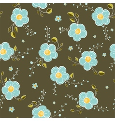 Seamless Blue Flowers Pattern vector image vector image