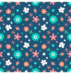 Seamless pattern with small flowers and berries vector image