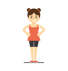 sporty smiling girl in sportswear doing gymnastics vector image vector image