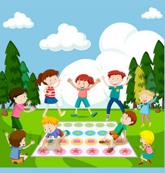 Children playing game in the park vector