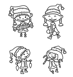 Christmas girls vector image