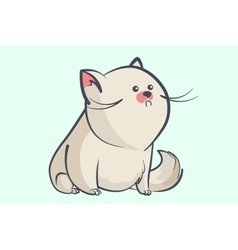 Fat gray cat with a little round eyes vector