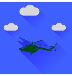 Green Helicopter Silhouette vector image vector image