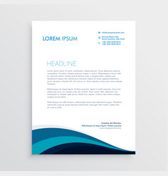 stylish letterhead design with blue wavy shapes vector image vector image