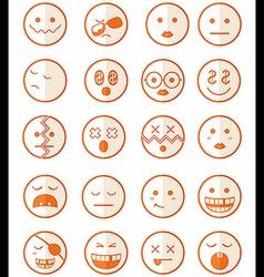 20 characters orange half icons set 2 vector