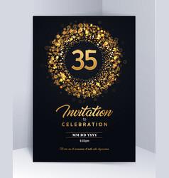 35 years anniversary invitation card template vector