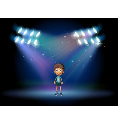 A boy smiling at the stage vector image