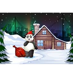 a santa panda with a red sack full gifts vector image