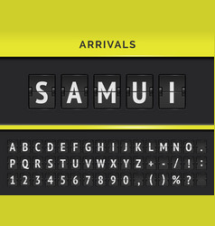 Airport terminal panel with flight font vector