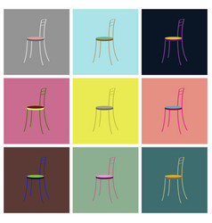 Assembly flat icons chair vector