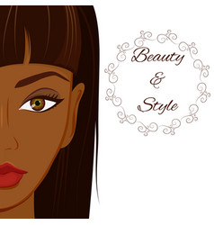 Attractive woman with dark skin beautiful african vector