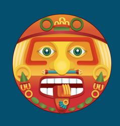 Aztec calendar sun god vector