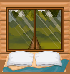 Background interior wooden cabin with bed and vector