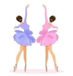 Ballerina dancing on pointe in flower tutu skirt vector