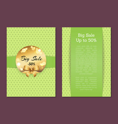 big sale to 50 cover front back page golden label vector image