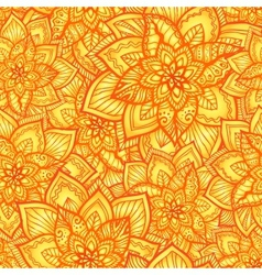 Bright orange floral seamless pattern vector image