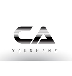 ca c a black and white horizontal stripes letter vector image