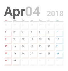 Calendar planner april 2018 week starts sunday vector