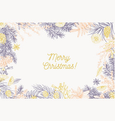 card template with merry christmas inscription and vector image