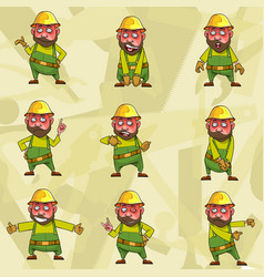 cartoon character worker in a helmet in various vector image
