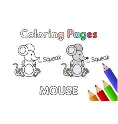 Cartoon mouse coloring book vector