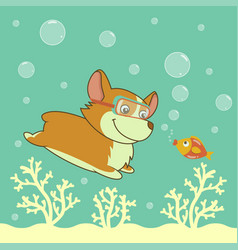 Cartoon welsh corgi dog diving in the ocean vector