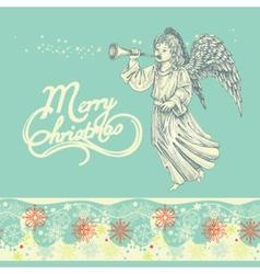 Christmas angel greeting card vector