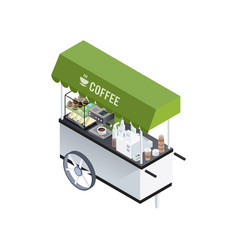 Coffee cart isometric composition vector
