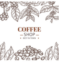coffee shop poster drawing leaves hand drawn vector image