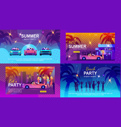 Colorful banners set inviting to summer adventure vector