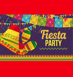 Colorful design fiesta party card vector