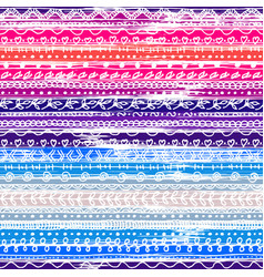 Colorful striped seamless pattern with doodle vector