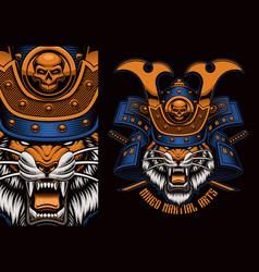 Colorful t-shirt print a tiger samurai vector