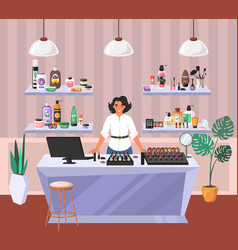 cosmetics store shop assistant standing vector image